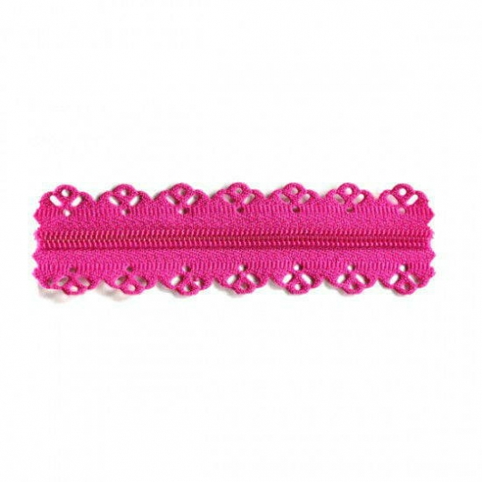 Biais tape lace finish through pea fushia RV335