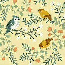 Birch fabrics cotton knit Acorn trail Bird branches